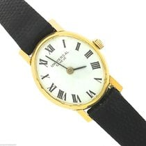 Universal Genève 18K Yellow Gold Black Lizard White Roman Watch
