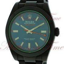 Rolex Milgauss, Blue Dial, Green Sapphire Crystal - Black PVD...