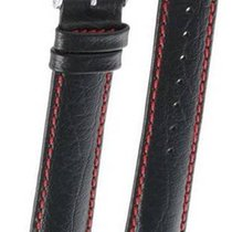 Hirsch Uhrenarmband Leder Jumper schwarz/rot L 04402051-2-18 18mm