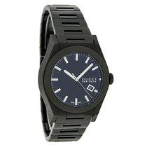 Gucci 115 Pantheon Mens Black Finish Swiss Quartz Watch YA115244