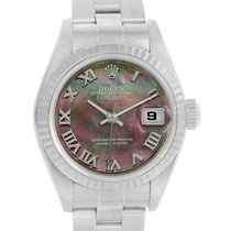 Rolex Datejust Steel White Gold Black Mother Of Pearl Dial...
