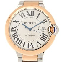 Cartier Ballon Bleu 18k Rose Gold And Steel White Automatic...