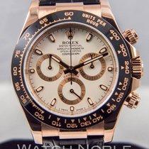 Rolex Daytona 18k EveroseRose Gold Ivory Dial Mens Watch 40mm