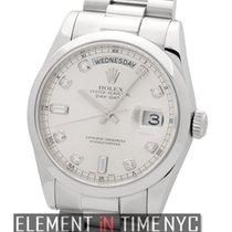 Ρολεξ (Rolex) Day-Date President Platinum Silver Diamond Dial...