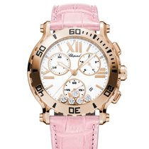 Chopard Happy Sport 42 mm Chrono Leder Rosa