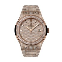 Hublot Classic Fusion Quartz King Gold Bracelet Full Pavé 33mm