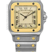 Cartier 18k yellow gold and stainless steel Santos Galbee
