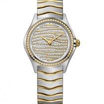 Ebel Wave Lady Diamond Bezel, Diamond Pave' Dial Gold Waves