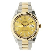 Rolex DATEJUST II 41mm 18K Yellow Gold Bezel Champagne Dial
