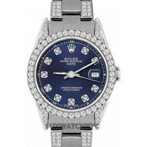 Rolex Date Ladies's 34mm Blue Dial Stainless Steel Bracelet