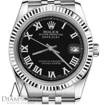 Rolex Mens Classic Rolex 36mm Datejust Stainless Steel Black...