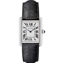 Cartier WSTA0030 Tank Solo Large Size in Steel - on Black...