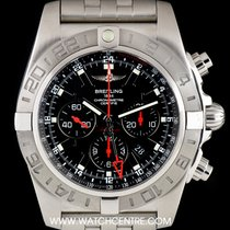Breitling S/S Black Dial Chronomat GMT Ltd Ed B&P ...