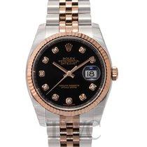 Rolex Datejust Gold/Steel Black/18k rose gold Ø36 mm - 116231