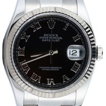 Rolex Datejust 36 116234-BLKRFO Black Roman Fluted White Gold...