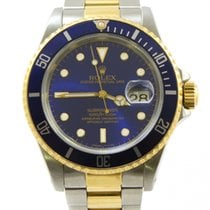 Rolex Submariner 16613 Blue Dial 18k Yellow Gold Steel 40mm E...