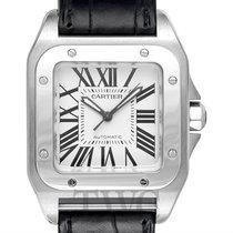 カルティエ (Cartier) Santos 100 Woman Medium Model Silver Steel/Lea...