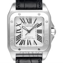 Cartier Santos 100 Woman Medium Model Silver Steel/Leather -...