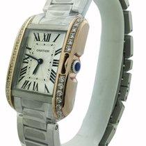 Cartier Tank Anglaise Medium 18k Pink Gold Diamonds Bezel...