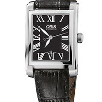 Oris Rectangular Date, Roman, Black Dial Leather Bracelet