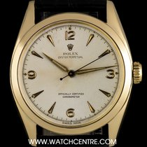 Rolex 14k Y/G O/P Rare Cream Dial Semi Bubble Back Vintage 6084