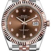 Rolex Datejust 41 126331 Chocolate Diamond Fluted Rose Gold...