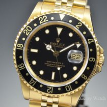 Rolex GMT-Master II 18K Yellow Gold Black Dial 40MM Watch 16718