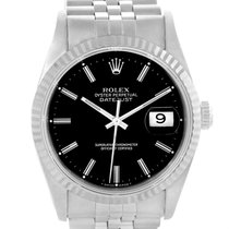 Rolex Datejust Stainless Steel White Gold Black Dial Mens...