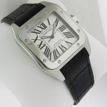 Cartier Santos 100 w20073x8 Stainless Steel Black Crocodile