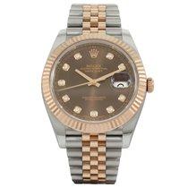 Rolex Datejust Rose Gold/Steel Chocolate Diamond Dial 126331