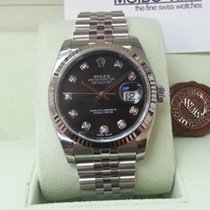 Rolex Datejust Black Dial White Gold Bezel Diamonds 36mm [NEW]