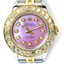 Rolex Ladies Rolex Custom Pink MOP Diamond Dial 3 CT Bezel...