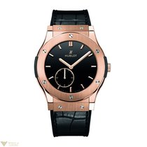 Hublot King Gold Leather Band 18k Rose Gold Men's Watch