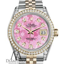Rolex Stainless Steel And Gold 36 Mm Datejust Watch Pink...