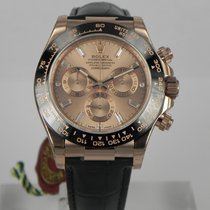 Rolex DAYTONA ROSE GOLD LEATHER PINK 11 BAGUETTES