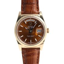 Rolex DAY-DATE 36mm Yellow Gold Watch Cognac Dial Leather Strap