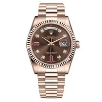 Rolex DAY-DATE 36mm Rose Gold Chocolate Ruby Diamond Dial