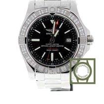 Breitling Avenger II GMT Diamond Bezel Black Dial Full Steel NEW