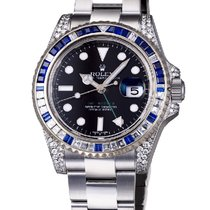 Rolex GMT-Master II Steel Blue/White Diamond Bezel