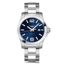 Longines Conquest Quartz Stainless Steel Blue Dial Mens Watch...