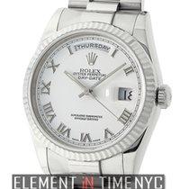 Rolex Day-Date President 18k White Gold White Roman Dial P...