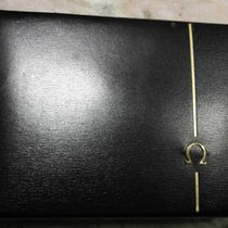 Omega vintage watch box very rare black leather metal logo