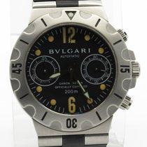 Bulgari Scuba Scb38s Steel Chronograph On Rubber Strap W/...