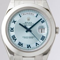 Rolex 218206 Day Date II Platinum President 41mm Ice Blue...