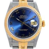 Rolex Women's Datejust Midsize Two Tone Fluted Blue Roman...