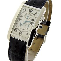 Cartier W2603356 Tank Americaine White Gold Chronoflex - White...