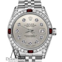 Rolex 31mm Datejust Stainless Steel Silver Diamond Numbers...