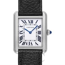 Cartier Tank Solo Woman Small Model Silver Steel/Leather -...