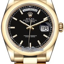 Rolex Day-Date 36mm Yellow Gold Domed Bezel 118208 Black Index...