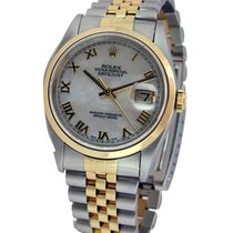 Rolex Used 16203_white_MOP_used Mens 2-Tone Datejust with...